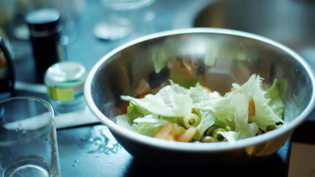 Woman prepares a salad of vegetables and chicken video
