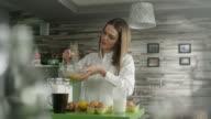 Woman preparing cake video