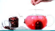 Woman preparing red Hibiscus tea video