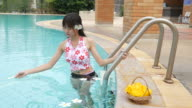 woman relax and enjoy in swimming pool video