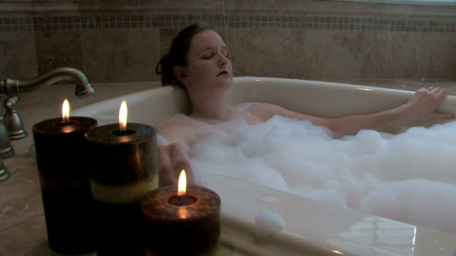 Woman Relaxing in Bath 4 video