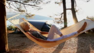 HD DOLLY: Woman Relaxing In Hammock On The Beach video