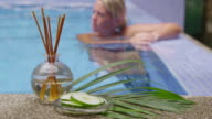 Woman relaxing in pool. video