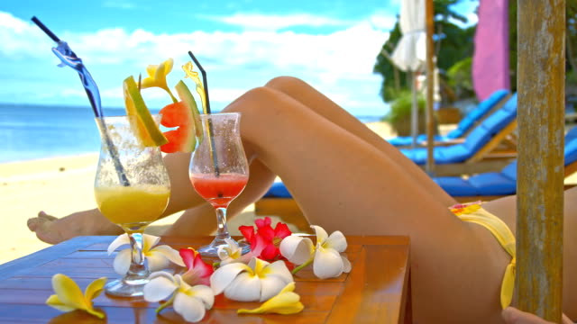 MS DS Woman Relaxing On The Tropical Beach video