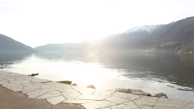 Woman riding a bicycle by the edge of the lake video