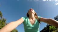 Woman Riding Bike On A Beautiful Summer Day video
