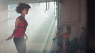Woman rope skipping in gym video