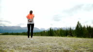 woman runner warm up outdoor video