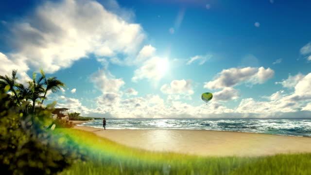 Woman runnin on the beach, air ballon and yacht sailing, travelling shot video