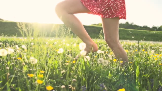 HD SUPER SLOW MO: Woman Running In Meadow video