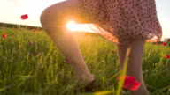 SLO MO Woman Running In The Grass At Sunset video