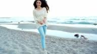 Woman running near the beach, pov shot, fun with boyfriend slow motion video