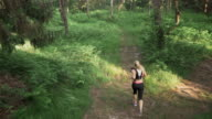 AERIAL Woman running on a path through forest video