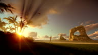 Woman running on the beach and aircraft landing, beautiful sunrise video