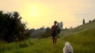 SLO MO Woman Running With Dog video