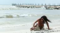 Woman Sand Castle Pier video