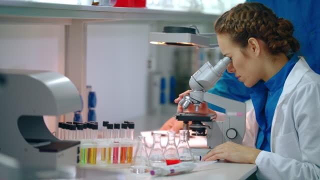Woman scientist microscope research. Female scientist looking microscope video
