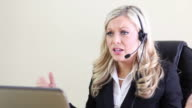 Woman screaming into headset video