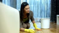 HD DOLLY: Woman Scrubbing The Floor video