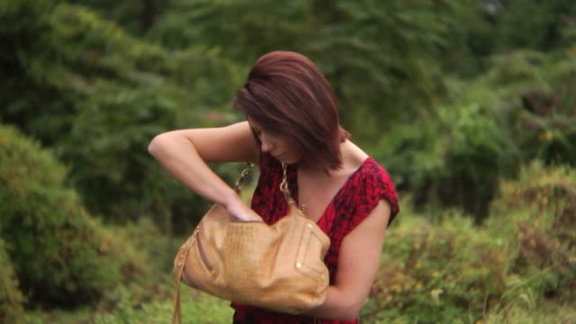HD DOLLY: Woman searches for something in her purse video