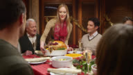 SLO MO of woman serving turkey to the Christmas table video