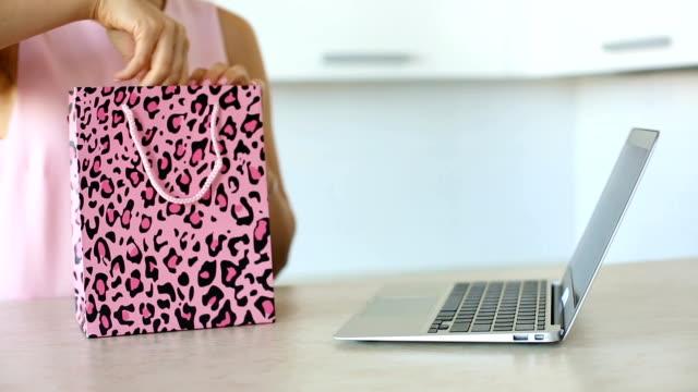 Woman shopping online video