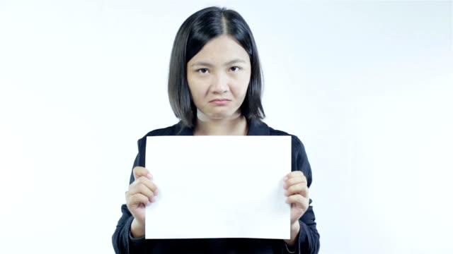 Woman show blank paper,Negative Emotion video