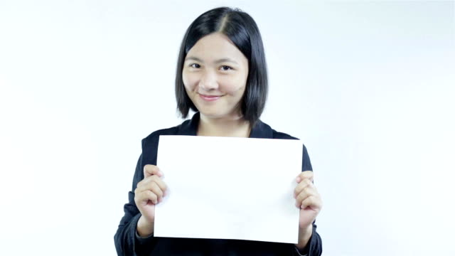 Woman show blank paper,Smile face video