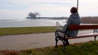 DS Woman sitting by the lake Balaton video