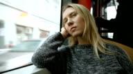 Woman sitting in tram video