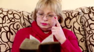 Woman sitting on a divan and reading old book video