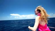 Woman sitting on sailing boat on the Adriatic sea in Croatia. video
