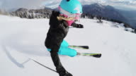 POV Woman skiing down ski slope video