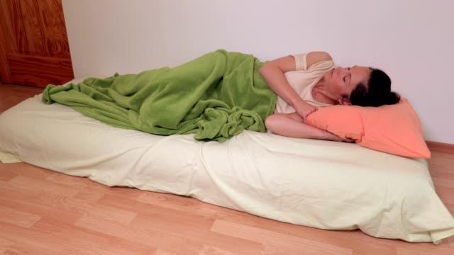 Woman sleeping on the air mattress video