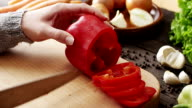 Woman Slicing Peppers video