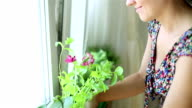 Woman smells the aroma herbs in her kitchen video