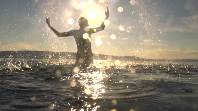 HD SUPER SLOW MO: Woman Splashing Water video