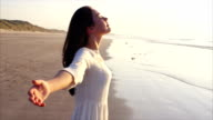 Woman standing with arms outstretched on beach video