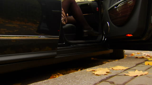 Woman Steps out of Car video