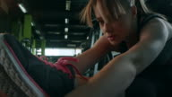 Woman stretching in the gym video