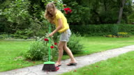 woman sweep with broom fallen rose petals on garden path. FullHD video