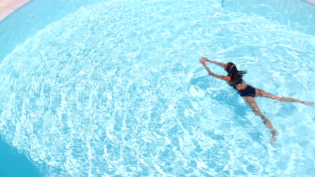 Woman swimming in the pool video