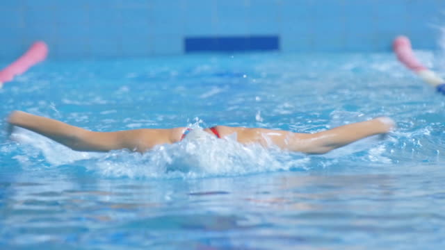 Woman Swims In the Swimming Pool video