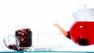 Woman take  red Hibiscus tea video