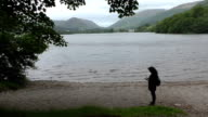 Woman taking picture of Grasmere lake video