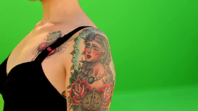 woman Tattoos on green screen video