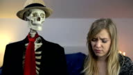 Woman tells skeleton that she can not this way anymore video