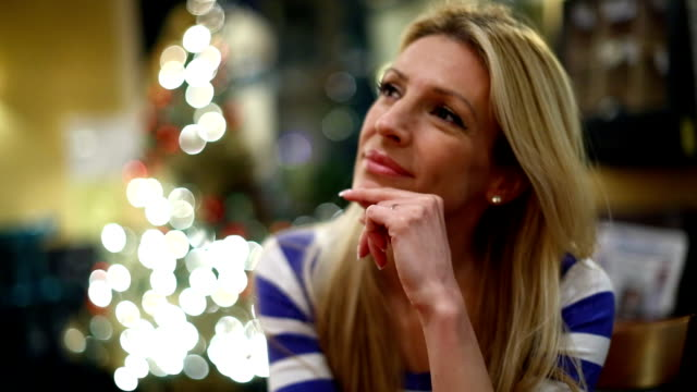 Woman thinking of great plans for next year. video