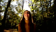 Woman Throwing Autumn Leaves in Air Nature Joy video