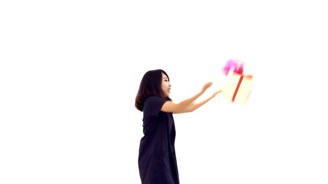 Woman tosses gift box into the air, 'Bullet time' effect video